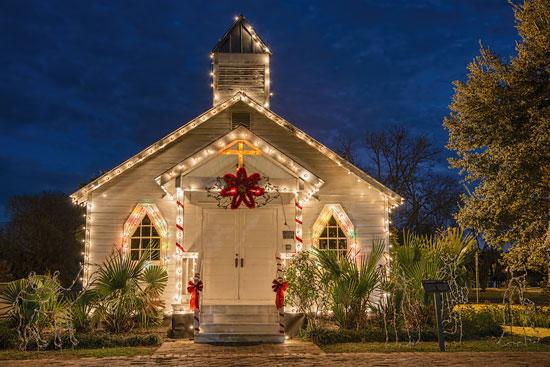 Church with Christmas lights